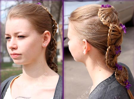 необычное плетение с косами