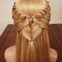Косы с распущенными волосами. Плетение сердце