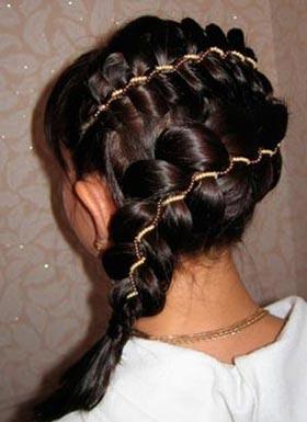 пятипрядная коса с лентой