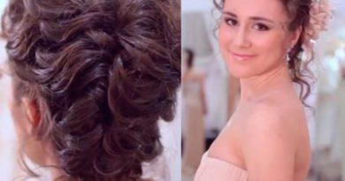 свадебная прическа коса с цветком