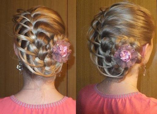 ажурная коса с выпущенными прядями