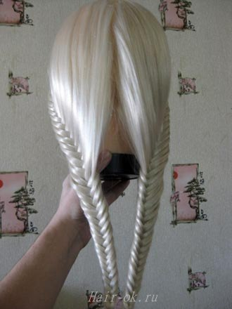 фото плетение косички колосок