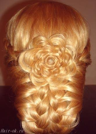 прическа с косой цветком