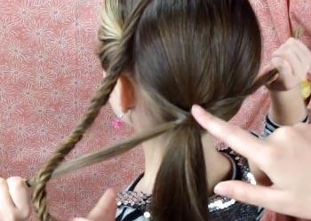 прическа с хвостом и косой
