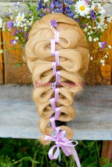 как плести косу с лентой