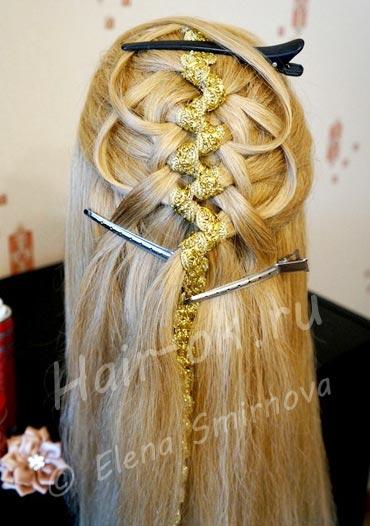 коса с лентой