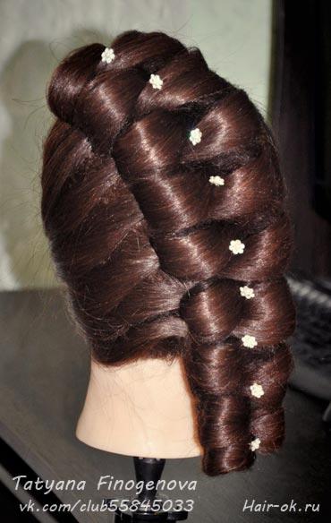 модная коса бант
